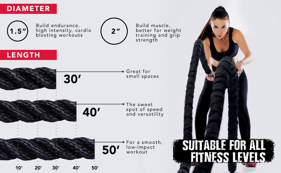 Firebreather training battle ropes 1.5 inch 30 ft heavy ropes for exercise training battle rope
