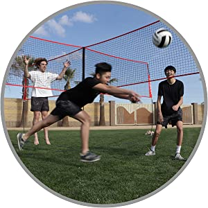 The PowerNet 4-Way Volleyball Net includes all boundary lines, ties and stakes.