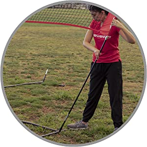 The PowerNet 4-Way Volleyball Net can be played as 2-on-2 or every-man-for-himself elimination style