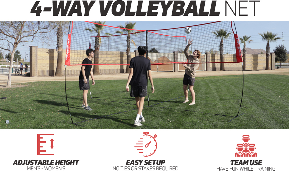 The PowerNet 4 Way Volleyball Net combines four square with volleyball for non-stop fun!