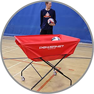 The PowerNet XL Wheeled Cart is easy to move around the court.