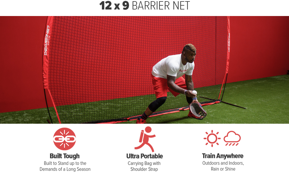 PowerNet 12x9 Barrier is perfect for player, property and spectator protection.