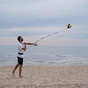 MOTOMY volleyball practice equipment on the beach