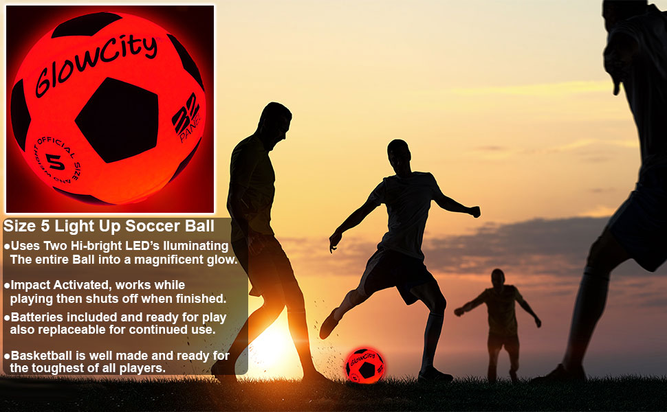 light up led glow in the dark night sports soccer ball