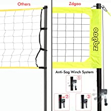 volleyball net with winch system