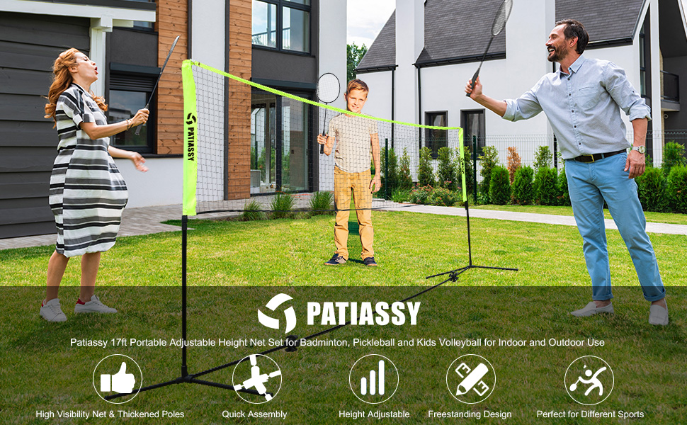 Patiassy 17ft Portable Adjustable Height Net Set for Badminton, Pickleball and Kids Volleyball