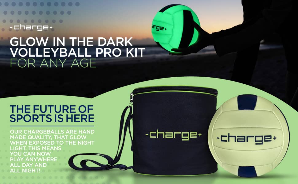 chargeball glow in the dark volleyball pro kit