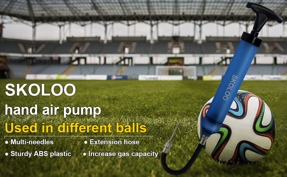 a blue hand air pump for soccer balls, the Ball Pump Kit with Needles, Nozzle, Extension Hose