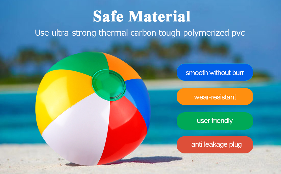 Inflatable Beach Ball 12 Inches Classic Rainbow Color Birthday Pool Party Favors Summer Water Toy