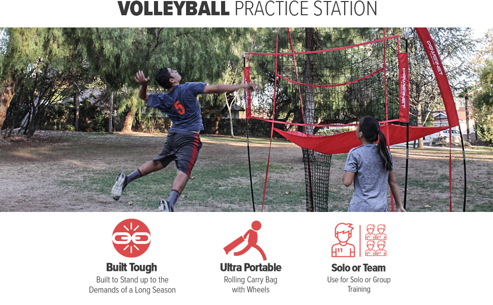 Powernet Volleyball Practice Station allows you to set up anywhere to work on your serves and bumps.