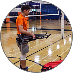 Powernet Volleyball Training Station Frame extends and snaps for easy setup.